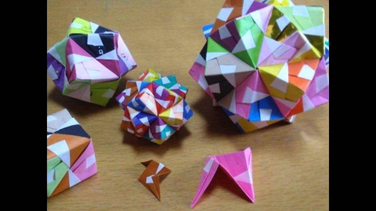 折り紙の 折り紙のくす玉 : 折り紙_多面体 - YouTube