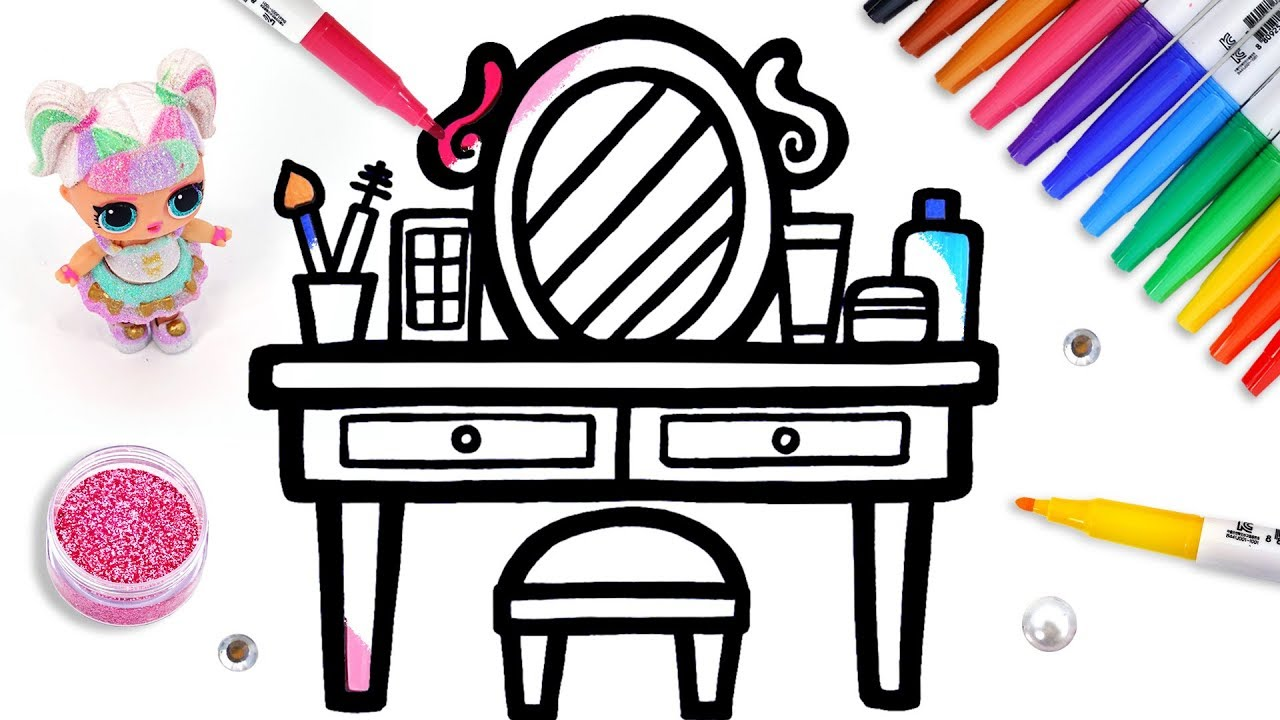 Let's learn to draw Makeup Table and coloring for kids ...