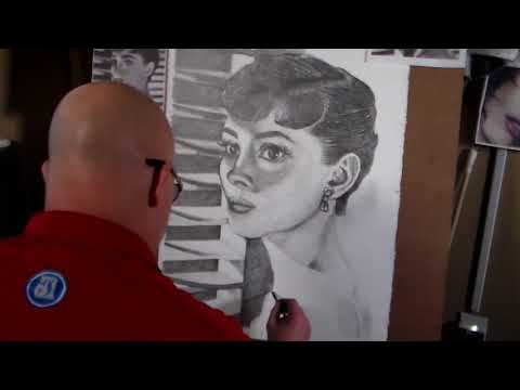 Audrey Hepburn Pencil Sketch Process Fast Motion Video by John Groves