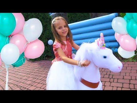 День Рождения Насти в стиле ЛОЛ Белый ЕДИНОРОГ PonyCycle в ПОДАРОК Куклы LOL игрушки для детей