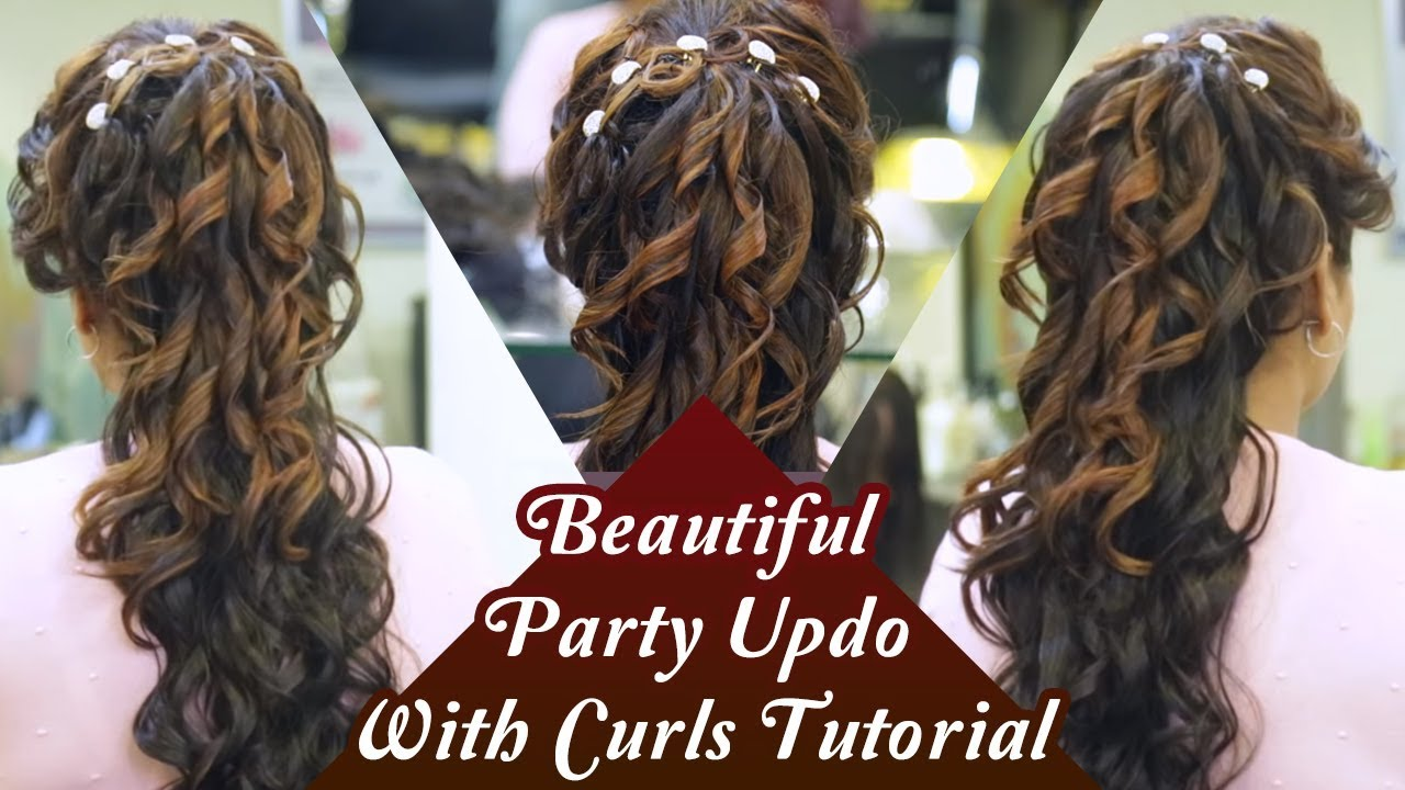 party updo with curls tutorial   step by step hair updo tutorial   party hairstyles   khoobsurat