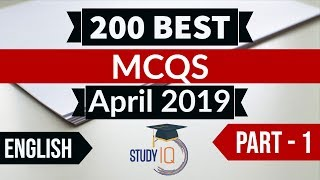 Download Video Best 200 APRIL 2019 Current Affairs in ENGLISH Part 1 - Finest MCQ for all exams by Study IQ MP3 3GP MP4