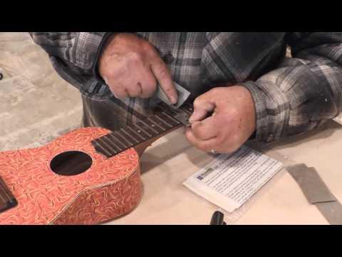 Dressing a ukulele fretboard