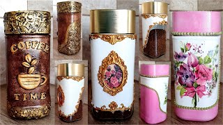 3 Amazing Ideas for recycled coffee Jars /Decoupage on glass