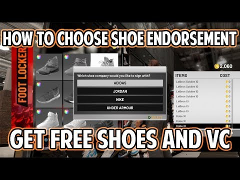 NBA 2K19 HOW TO CHOOSE SHOE ENDORSEMENT! GET FREE SHOES, VC, AND BETTER CONTRACTS!