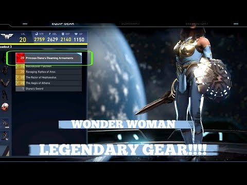 FIRST EVER WONDER WOMAN LEGENDARY GEAR SHOWCASE | INJUSTICE 2