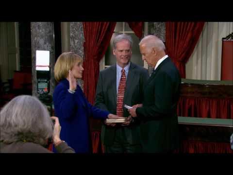 Senator Maggie Hassan Reenacts Swearing-In With Vice President Joe Biden