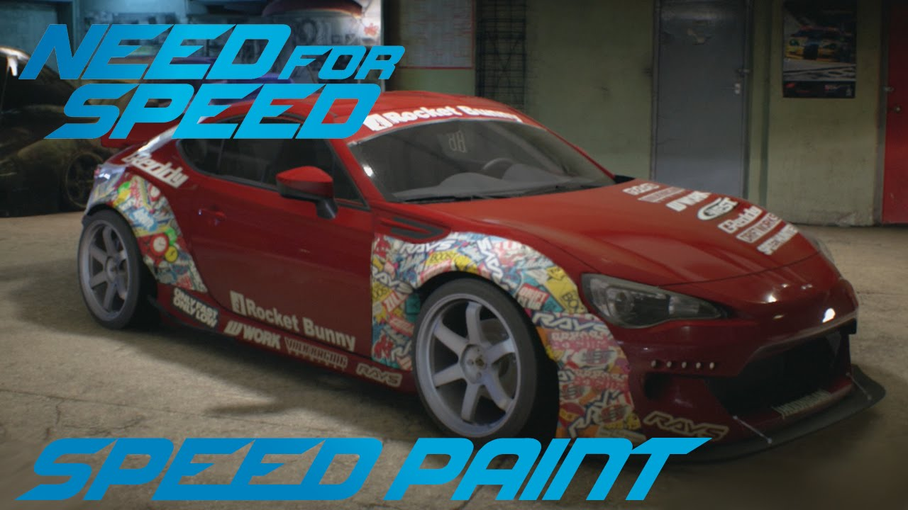 need for speed 2015 - subaru brz - speed paint - youtube
