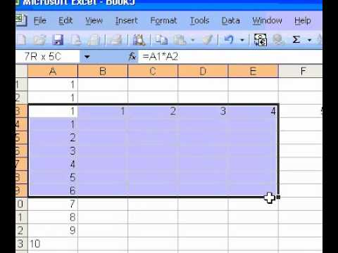 how to use tables in excel 2003