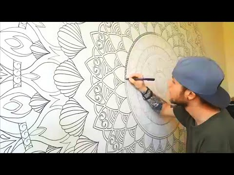 MASSIVE Mandala Mural. Third Eye Wall Art. NO PROJECTOR.