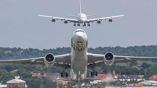 PARIS AIR SHOW 2019 warm up - AIRBUS A380 Airshow with an Airbus A350 + A400 ... (HD)