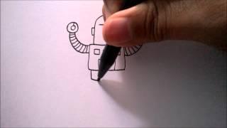 "CARA MENGGAMBAR ROBOT DARI HURUF ""T""   HOW TO DRAW A ROBOT FROM A LETTER ""T"""