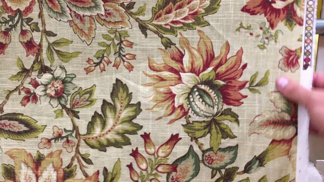 Millcreek green and red on beige jacobean floral 54 wide home decor fabric