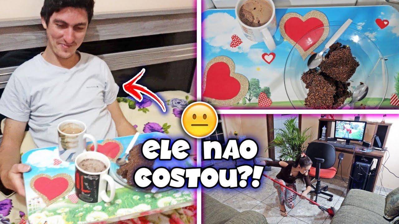 FIZ UMA SURPRESA PRA ELE COM CAFÉ DA MANHÃ NA CAMA + FAXINA LEVE NA CASA