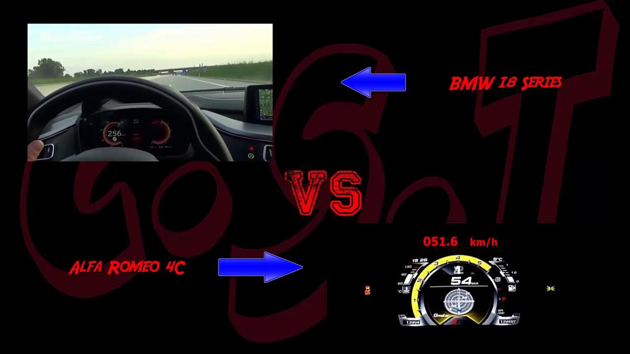 Car Speed Test Bmw I8 Series Vs Alfa Romeo 4c Series Acceleration