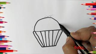 How to draw a  cupt cake | Easy cake drawing and coloring |Cuties Kids
