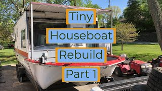Gambar cover Tiny Houseboat Build - Removing rotten floor and gutting it - Demo Day - 1