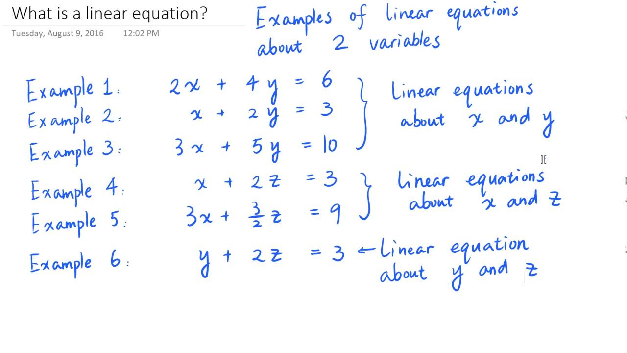 What is a linear equation? (Definition and examples) - YouTube