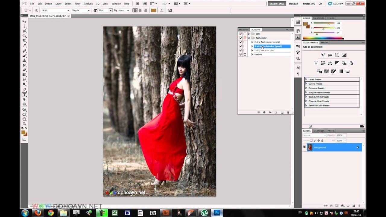 Học photoshop – Cách sử dụng Action trong photoshop – Dohoafx.com tutorial