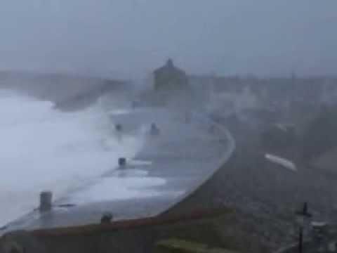 Waves over Chesil Beach Portland Dorset - 5th February 2014
