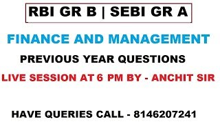 Previous Year Questions of Finance and Management|Part 2|RBI Gr B|SEBI Gr A|2019