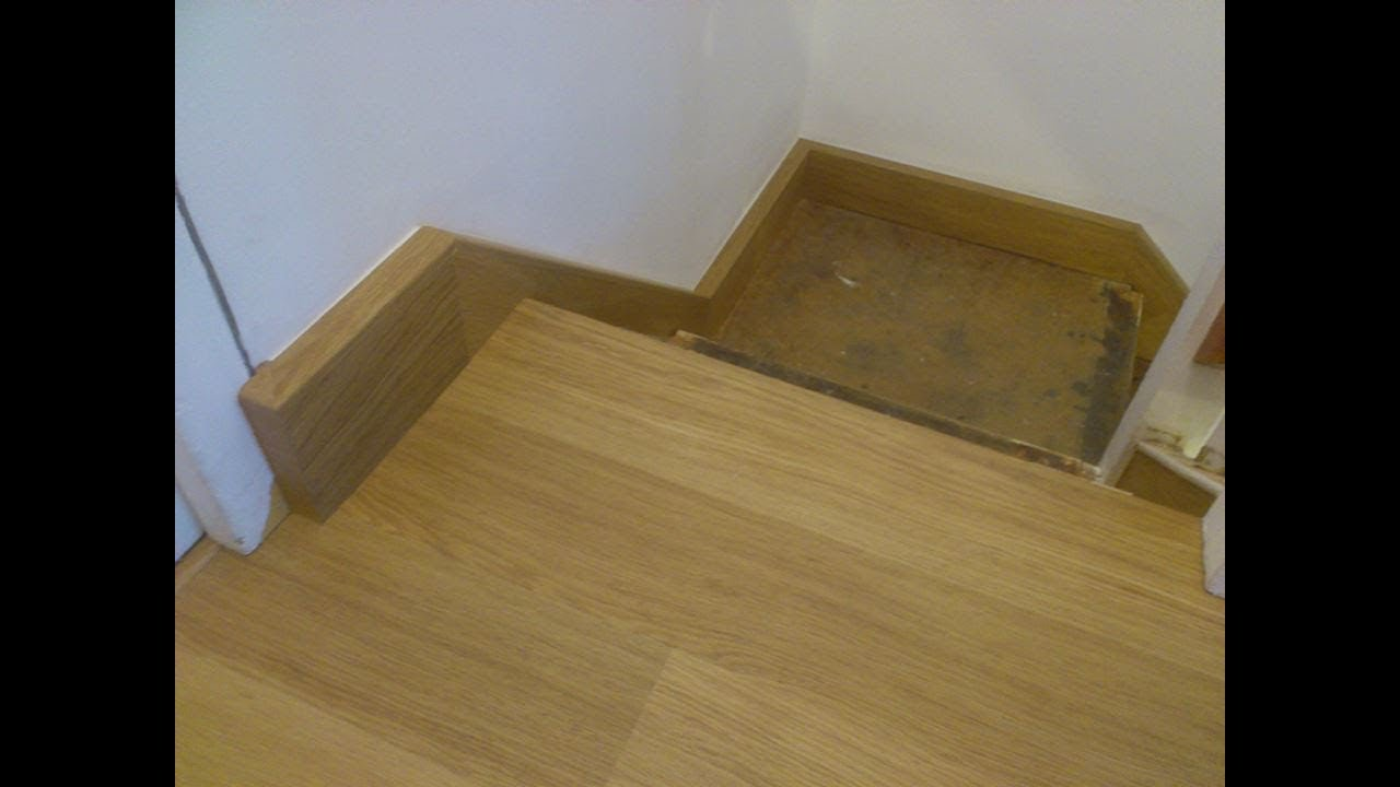 Cladding staircase stringers with QuickStep laminate