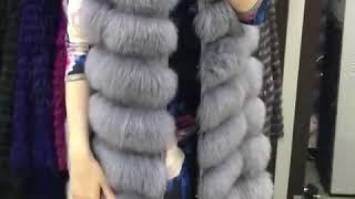 Жилетка песец, цвет серо голубой