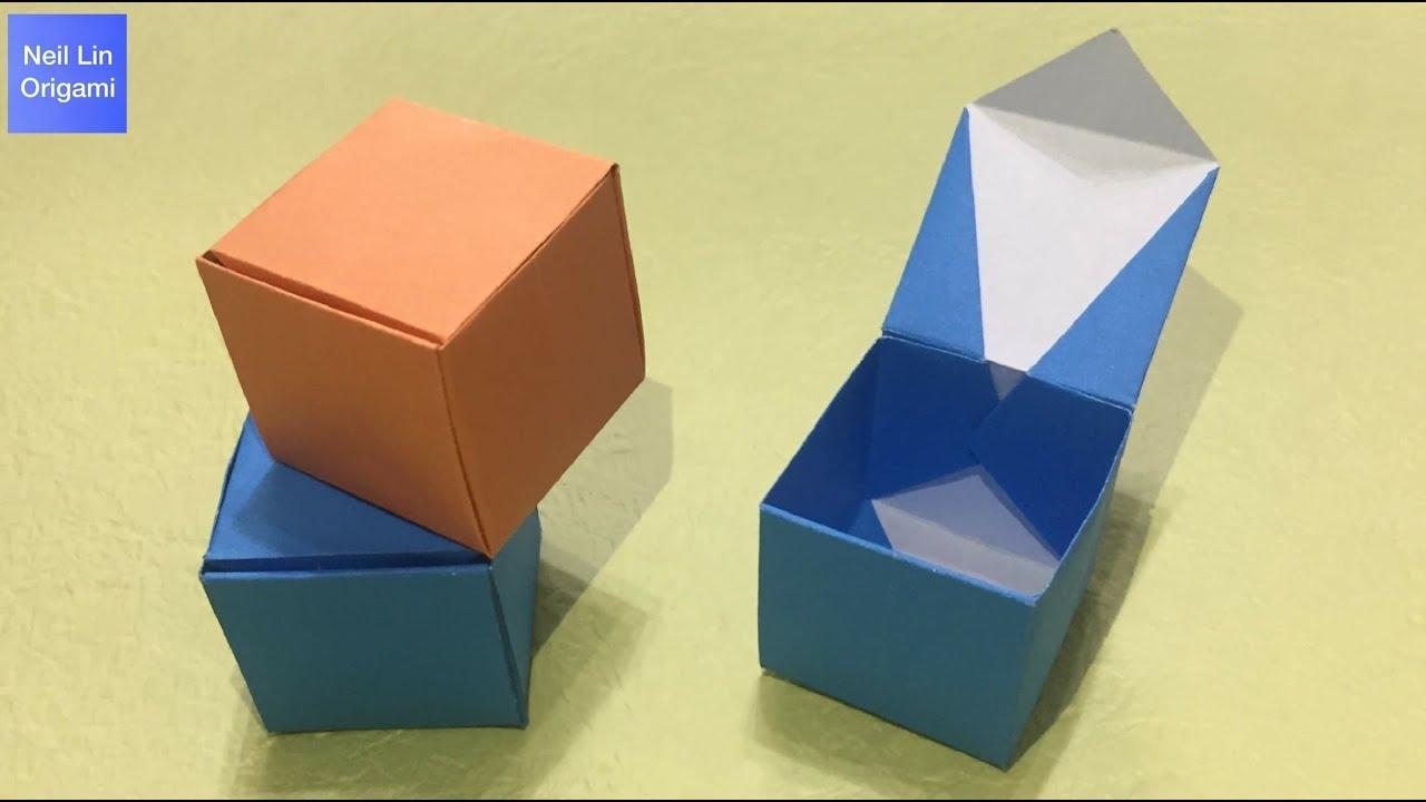 簡單摺紙盒子教學 / 如何用一張紙折疊有蓋子的盒子 創意手工折紙DIY #StayHome and make Origami#With me - YouTube
