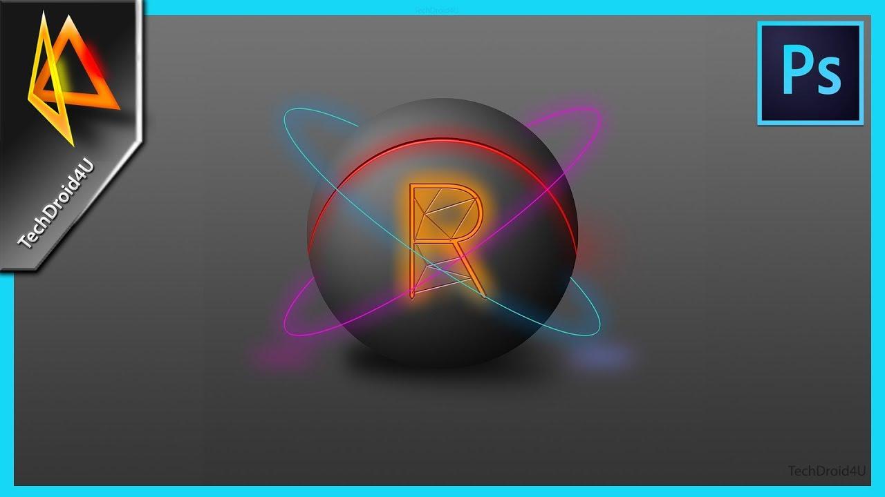 Photoshop tutorial: Glow effect ; glowing ball tutorial ; neon effect photoshop ; techdroid4u