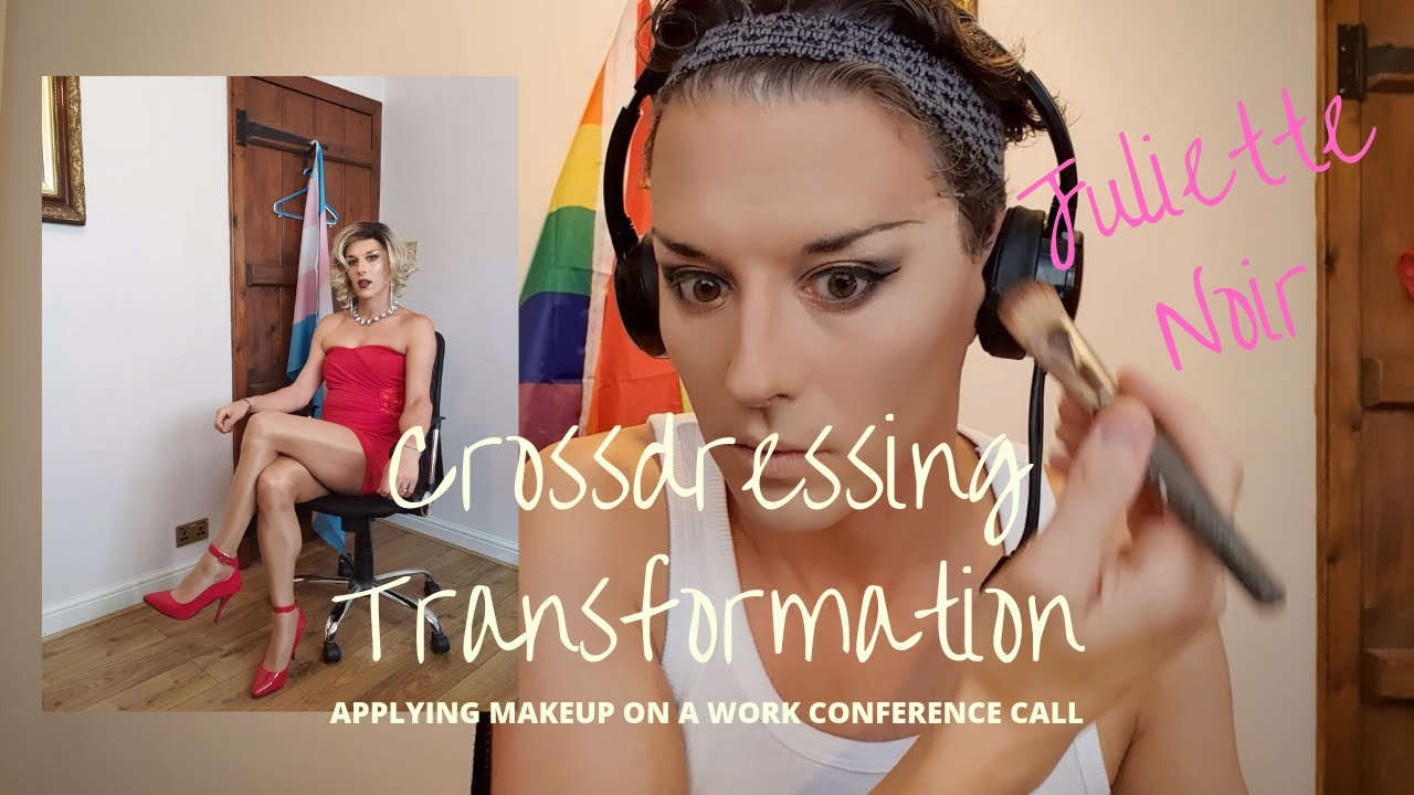 Crossdressing Transformation - Applying makeup on a work conference call!
