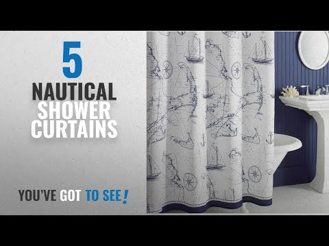 Top 10 Nautical Shower Curtains [2018]: Uphome Shabby Cape Island Map Bathroom Shower Curtain - Navy