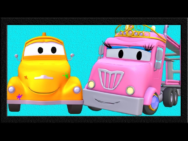 Tom The Tow Truck's Paint Shop : Charlotte the Car Carrier is a Princesse | Truck cartoons 👸🚗
