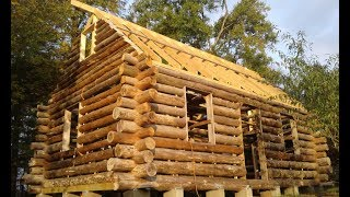 OFF GRID LOG CABIN BUILD #15 Log Gables