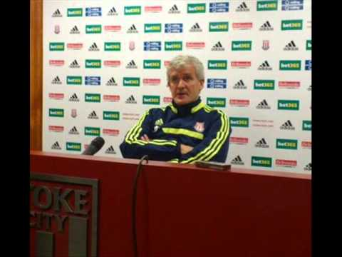 Mark Hughes on missing Robert Huth & flares. At Stoke City press conference for Cardiff game