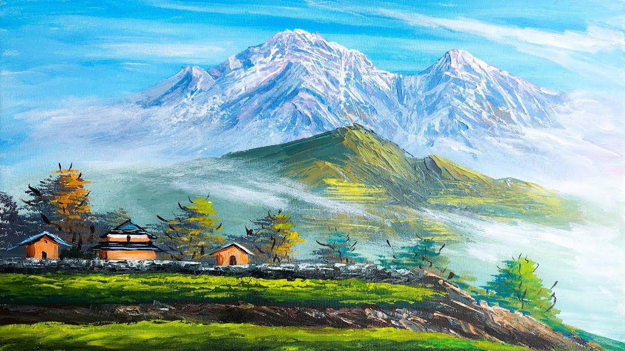 Distant village   Nepali Painting   Beautiful Nepali Village Landscape Painting   Scenery Painting