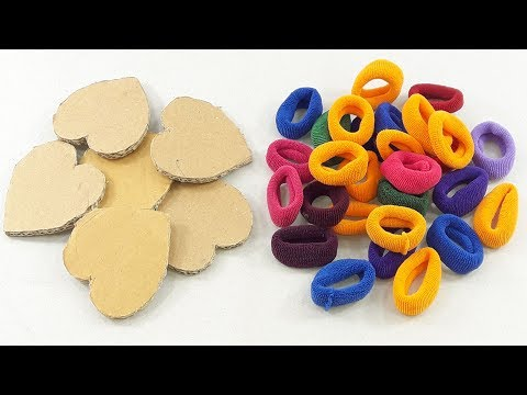 Amazing decorating idea with Waste cardboard & Hair rubber bands | DIY art and craft | DIY HOME DECO