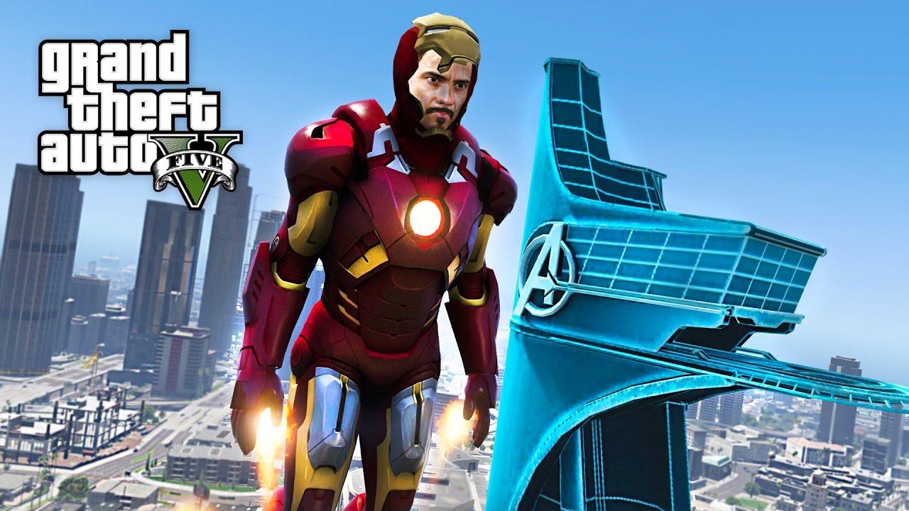IRON MAN/TONY STARK'S AVENGERS TOWER MOD!! GTA 5 Iron Man Mod Gameplay!  (GTA 5 Mods Gameplay)