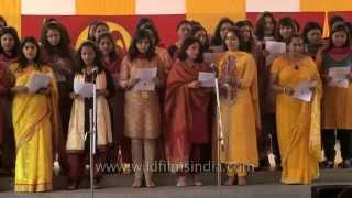 Shri Ram School teachers sing for Class Five moving-on assembly