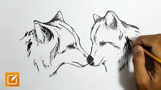 Drawing a couple wolves #Speedart