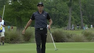 Rickie Fowler drains birdie putt from off the green at Zurich