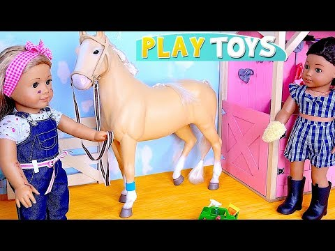 American girl baby dolls cleaning the doll horse stables house! 🎀