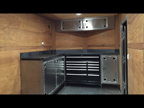 Custom enclosed trailer interior mobile service contractor trailer