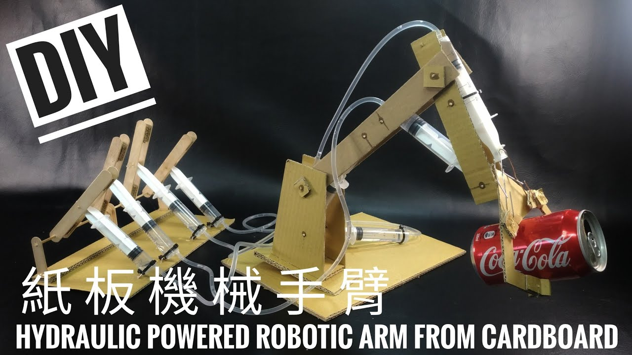 Hydraulic Powered Arm : Diy 紙板機械手臂 hydraulic powered robotic arm from cardboard