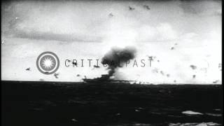 Japanese Kamikaze airplanes attack USS Saratoga (Feb 21) and USS Bunker Hill (May...HD Stock Footage