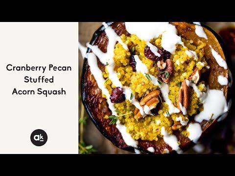 Cranberry Pecan Quinoa Stuffed Acorn Squash