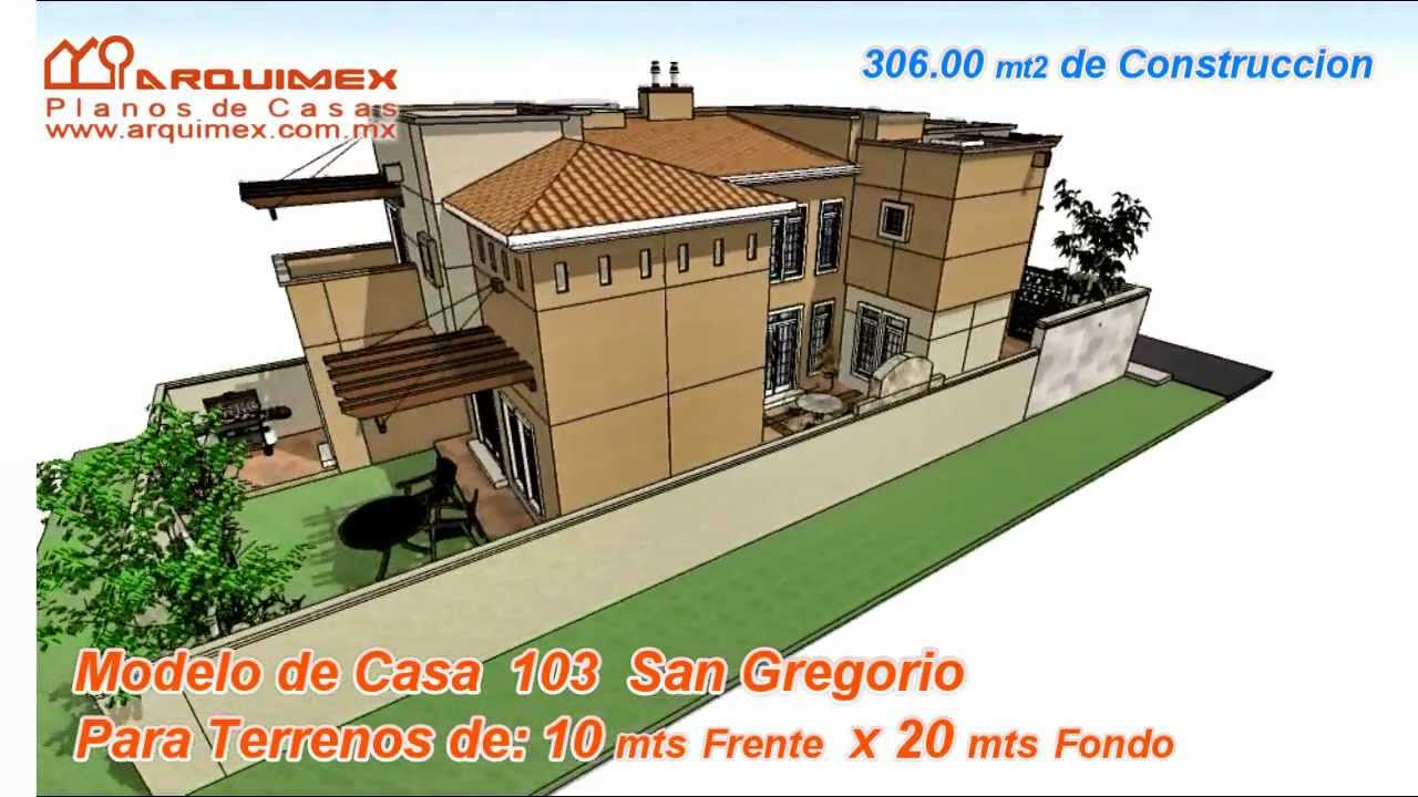 Planos de casas modelo san gregorio 103 arquimex for Modelo de casa de 4x6