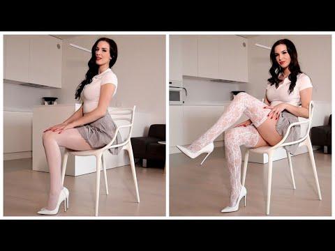 White pantyhose vs white stockings TRY ON    Excinderella