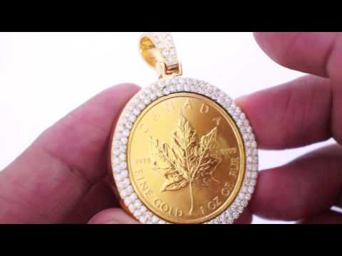 1 0z 24k maple leaf gold coin with 4 carat diamond pendant