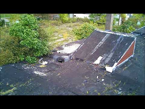 Damaged old Warehouse on Waterman ave in Cleveland Drone footage