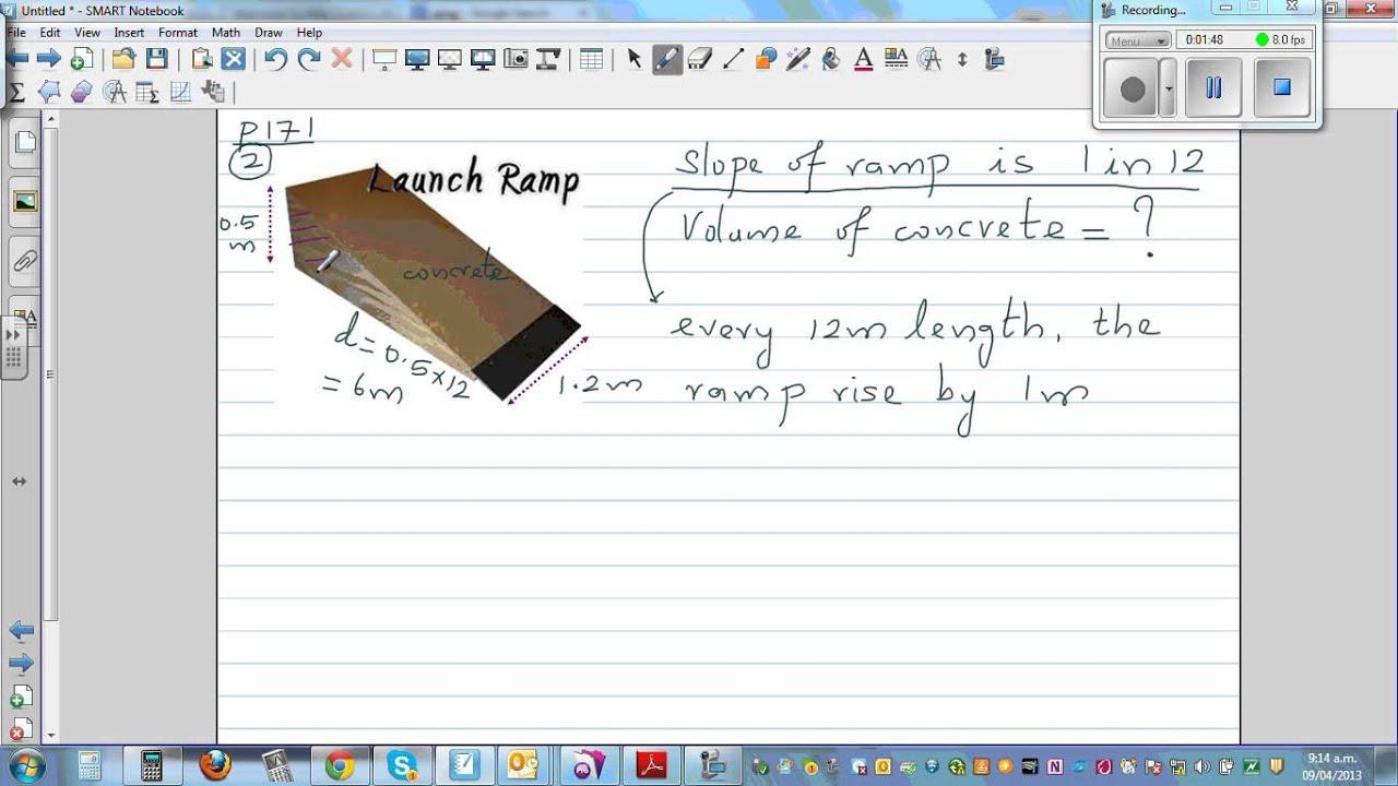 Volume Of Concrete Slab : Volume of a concrete ramp youtube